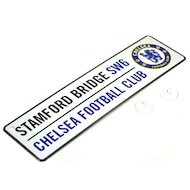 STAMFORD BRIDGE street sign med 3D CHELSEA logo i metal