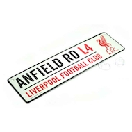 ANFIELD ROAD street sign med 3D LIVERPOOL logo i metal